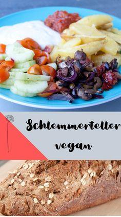 Vegan Kochen und low carb essen - mein veganer Schlemmerteller für Abends - so leicht und easy stelle ich mir eine gesunde, vegane Mahlzeit zusammen. Cereal, Beef, Breakfast, Easy, Food, Vegan Meals, Tasty Vegetarian Recipes, Vegan Cheese Sauce, Meat