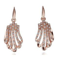 """Масивни дамски обеци """"Розови Миди"""" с бели кристали и розово златно покритие"""