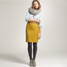 J. Crew chambray shirt with pencil skirt and snood. Love colour, layering & texture.