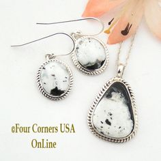 Four Corners USA Online - White Turquoise Earrings Pendant Set Native American Navajo Silver Jewelry NAN-1426 , $187.00 (http://stores.fourcornersusaonline.com/white-turquoise-earrings-pendant-set-native-american-navajo-silver-jewelry-nan-1426/)