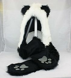 61a4e297e4b Panda Animal Hood Faux Fur Hat with Warm Scarf Mittens Ears and Paws Spirit  3 in 1 hat. Kids Costumes Paradise
