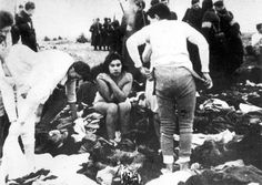 Skede, Latvia, Max Epstein and his sister Lea undressing, prior to their execution, 15/12/1941