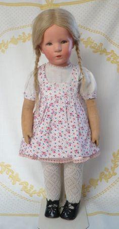 Kaethe-Kruse-Puppe-Ilsebill-Stoffkopf-lange-Hinterkopfnaht-50cm-30iger-Jahre