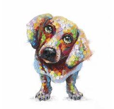 50 x 50 Paint Splotch Dog Canvas