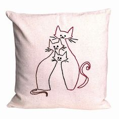 Pillow XVI: Hand Embroidered Pillow Cover (40x40 cm). $39.00, via Etsy.