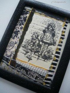 florence cathala  tissu, papier, fils fantaisie, peinture acrylique   illustration venant du site  www.freevintagedigistamps.com