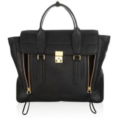 3.1 Phillip Lim The Pashli shark-embossed leather trapeze tote (19 245 UAH) ❤ liked on Polyvore featuring bags, handbags, tote bags, purses, bolsas, accessories, black studded tote bag, leather tote bags, black studded handbag and black leather purse