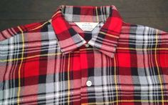Vtg 40 50s Penneys Flannel Shirt Red Plaid Mens Small Boys 18 Chest 41 Mint Cond #JcPenneys #ButtonFront #Casual