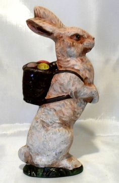 Easter Chalk Ware Handcrafted Easter Bunny w/Basket of Eggs