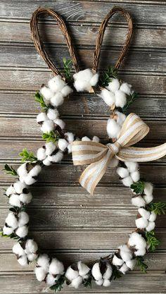Easter Cotton Boll Wreath, Farmhouse Wreath, Bunny Cotton Wreath, Easter Wreath, Spring Wreath, Easter Bunny Wreath, Cotton Wreath, Boxwood Wreath, Home decor, Spring decor, Easter decor, front door porch #ad #DIYHomeDecorSpring