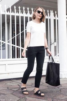 Trini | black and white summer outfit Birkenstock Arizona sandals Céline cabas bag The Kooples white top black Topshop pants