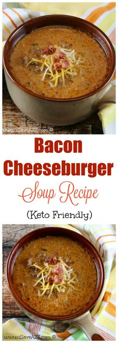 is the BEST Bacon Cheeseburger Soup recipe I've ever tried and it's a bonus that it's keto friendly!This is the BEST Bacon Cheeseburger Soup recipe I've ever tried and it's a bonus that it's keto friendly! Ketogenic Recipes, Low Carb Recipes, Healthy Recipes, Ketogenic Diet, Healthy Soup, Lunch Recipes, Game Recipes, Bacon Recipes Keto, Dessert Recipes