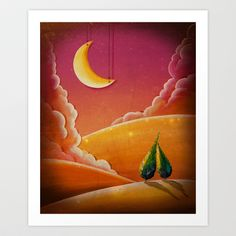 """""""Let The Stars Fall Down"""" hanging moon art print by Cindy Thornton - $17.00"""