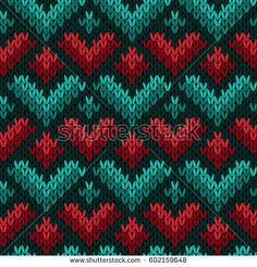 Manga Drawing Patterns Knitting seamless vector pattern with stylized hearts in red, green and turquoise hues as a fabric texture - Jacques A Dit, Vektor Muster, Knitting Patterns, Crochet Patterns, Big Knit Blanket, Jumbo Yarn, Big Knits, Knit Pillow, String Bag