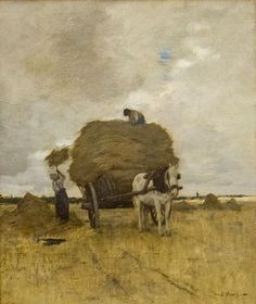 Anton Mauve (Dutch painter) 1838 - 1888 De Hooikar, oil on canvas 37 x 31 cm. Anton, Mauve, Farm Paintings, Landscape Paintings, Indian Paintings, Dutch Artists, Famous Artists, Holland, La Haye