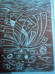 Sea weed wood print on handmade paper RKL