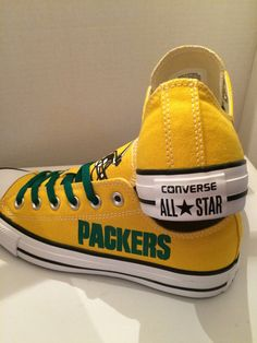 Green bay packer converse tennis shoes by sportzshoeking on Etsy Packers Funny, Packers Gear, Packers Baby, Go Packers, Green Bay Packers Fans, Packers Football, Nfl Green Bay, Football Baby, Greenbay Packers