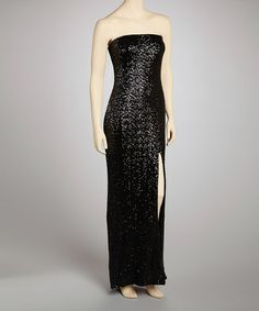 Take a look at this Black Sequin Maxi Dress - Women by Prive by Allen Schwartz on #zulily today!