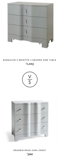 @bungalow5 5 Brigitte 3 Drawer Side Table $1,225 Vs @GrandinRoad Zara Chest $399