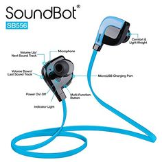 SoundBot® SB556 Stereo Bluetooth 4.1 Sports Active Wireless Headset High-Performance Earbud Headphone w/ Voice Prompt, Multi-Point Technology for 8Hrs of Wireless Music Streaming & Hands-Free Talking  SoundBot® SB556 Stereo Bluetooth 4.1 Sports Active Wireless Headset High-Performance Earbud Earphone w/ Voice Prompt, 180hrs of Standby time, 8hrs of Talk or Music Playback time, 33ft Wireless Range, NFC, aptX, Multi-Point Connectivity, Built-in Mic & Crystal Clear Sound Technology for ..