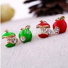 Hot vente nouveau Style belle pomme 2 couleurs mignon vert rouge Stud - CRYSTAL…