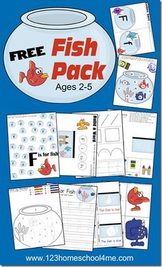 FREE Fish Pack - Early Learning for toddler, preschool, and kindergarten in this fun, themed free printable worksheets.