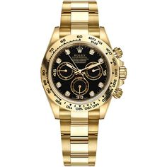 Rolex Cosmograph Daytona Yellow Gold 116508 Black Diamond Oyster Watch ($30,012) ❤ liked on Polyvore featuring men's fashion, men's jewelry, men's watches, mens gold watches, engraved mens watches, rolex mens watches and mens black diamond watches