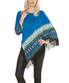 Another great find on #zulily! Blue & Black Geometric Fringe Poncho #zulilyfinds