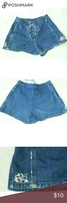 FLASH! OP LACE UP DENIM SHORTS OP OP Shorts Jean Shorts