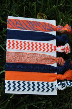 7 Pack Auburn Tigers Navy Blue Orange by LoveMeKnotHairTies, $5.00