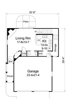 First Floor Plan of Country   Traditional   House Plan 95879