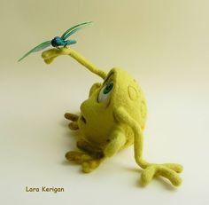 Купить Зеленая - лягушка, стрекоза, зеленая, шерсть, войлок, летняя, валяная игрушка, фильцевание, шерсть