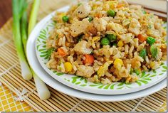 Easy Chicken Fried Rice  - really good!  And easy!  made w edamame, leftover chicken, a little hot pepper from my garden, and sesame seeds.  LMR 10/2014