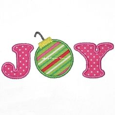 Joy with Ornament Applique - 2 Sizes!   Words and Phrases   Machine Embroidery Designs   SWAKembroidery.com Applique Time