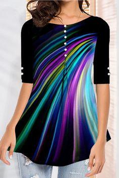 Buttoned Gradient Print Casual Half Sleeves T-shirt - Shopingnova