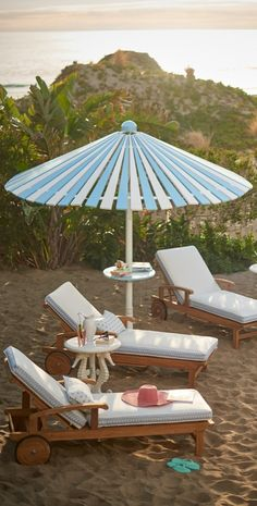 Stay cool and comfortable with our uniquely designed Balmoral Umbrella. Crafted of mahogany hardwood, the canopy's lacquered planks are painted in alternating blue and white for a chic, coastal vibe.