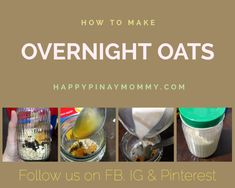 Overnight oats is easy to make, nutritious, and convenient to eat. Here is a great breakfast or snack baon for those busy days! Basic Overnight Oats Recipe, Oats Recipes, Filipino, Breakfast Ideas, Oatmeal, Snacks, Eat, How To Make, The Oatmeal