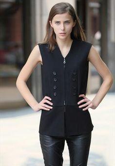 Black Button And Zip Detail Waistcoat Black Button, Black Tops, Vest, Buttons, Poses, Zip, London, Detail, Jackets