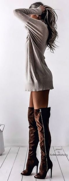 Sweatshirt dress long sleeve tshirt long sleeve shirt sweater dress with brown thigh high boots suede boots over the knee boots heels booties