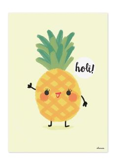Wallpaper World, Wallpaper Backgrounds, Iphone Wallpaper, Holi, Kawaii Drawings, Cute Drawings, Kawaii Illustration, Pineapple Illustration, Fruit Illustration