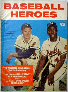 1958 Baseball Heroes Magazine, with Milwaukee Braves Red Schoendinist and Hank Aaron on cover (Milwaukee Braves Museum).