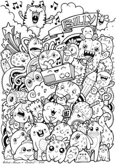 something to draw ideas Cute Doodle Art, Doodle Art Designs, Doodle Art Drawing, Kawaii Doodles, Cute Doodles, Kawaii Art, Doodle Monster, Doodle Coloring, Coloring Pages