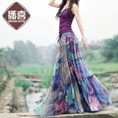 Free Shipping 2015 New Arrival Fashion Long Chiffon Skirt Floral Printed Maxi Boho Skirts For Women Plus Size Bohemian Skirts
