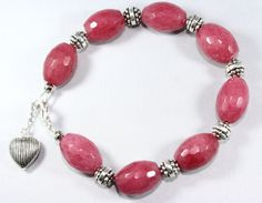 Pink Jade Bracelet With Silver Heart Charm ose by thejewelstreet, $49.00