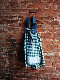 Emerald Green Gingham Maternity Halter Blouse/ by RebirthRecycling, $55.00