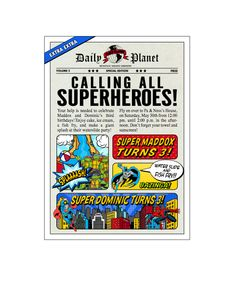 Vintage Marvel Comic Book Newspaper Super Heroes Invitations by Ian an d Lola Design Boutique. DIT digital and printed options available. Order here: http://www.ianandlola.com/products/character_invitations