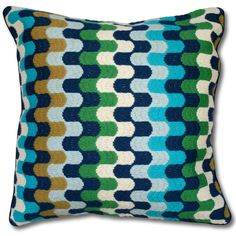 Jonathan Adler Blue Bargello Puzzle Pillow in Bargello Pillows- $175