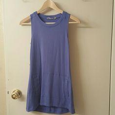 Cute Athleta long baby blue tank top! Super soft sweatshirt tank top. Has pocket in front. Athleta Tops Tank Tops