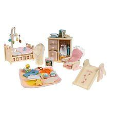 Calico Critters: Baby's Bedroom Set by International Playthings Inc.. $26.95. 10.25 ''L x 2.25''D x 6.75''H. Critters sold separately. The Calico Critters can keep it simple with this all-in-one baby set, featuring everything from essential furniture to adorable baby toys. Set includes dresser with 4 drawers and hanging rod, crib with 2 drawers and moveable rail, slide and baby seat with fabric cushion. Also comes with playtime essentials, including baby playmat with toy...