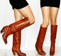vintage frye boots 7 70s 80s leather TALL riding campus womens boots
